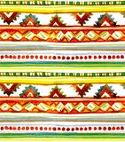 African summer - tribal motifs. Seamless stripe background. Hand painted watercolor. American tribal design. Seamless background with tribal pattern. Hand royalty free stock photography