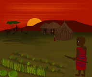 African Sunset. Illustration of a Massia tribe at sunset with mount Kilimanjaro in background vector illustration