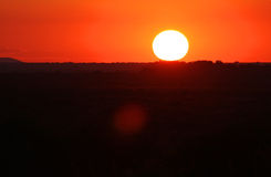African Sunset. Sunset over Africa landscape in glowing orange light Stock Image