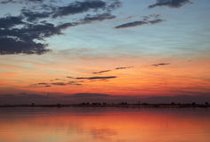 African Sunset - Botswana. Sunset over the Chobe River in Chobe National Park in Botswana Royalty Free Stock Photo