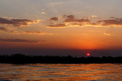 African sunset on Chobe river Royalty Free Stock Images