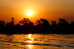 African sunset on Chobe river Stock Photos
