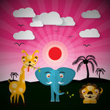 African Sunset Landscape with Elephant, Lion and Giraffe Royalty Free Stock Images
