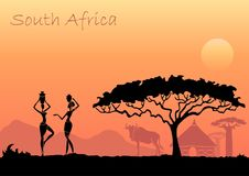 African women against the African sunset. Vector background. African sunset landscape with silhouettes of people, animals and trees royalty free illustration