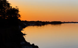 African sunset on Zambezi Stock Image