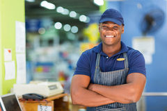 African supermarket cashier Royalty Free Stock Images