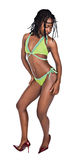 African swimwear. Young african girl in lime green swimwear costume Royalty Free Stock Photos