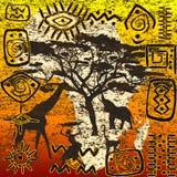 African symbols set. Grunge illustration Stock Photography