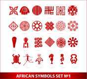 African symbols set red color isolated Royalty Free Stock Images