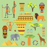 African symbols travel safari icon element set. African animals and people ethnic art south ancient design. Wildlife. Mask ancient african pattern, house, man stock illustration