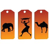 African tags. African price tags in orange tones vector illustration
