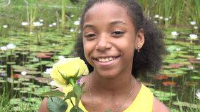 African Teen Girl at Pond stock footage