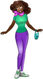 African Teenage Girl In TShirt And Pants. Vector illustration of an african teenage girl in tshirt and long pants vector illustration