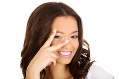 African teenager showing victory sign. Royalty Free Stock Photos