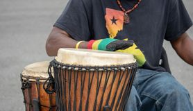 African themed drummer beating drums at a performance. An african themed drummer beating drums at a street performance outside Stock Photography