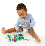African toddler with blocks royalty free stock images