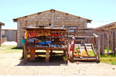 African township shop. A typical stand of a South African vegetable and fruit business in a township royalty free stock photo
