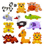 African toy animals. Set of eleven african cute toy animals: a zebra, a leopard, a hippopotamus, a rhinoceros, an ostrich, a crocodile, a monkey, an elephant, a Royalty Free Stock Images