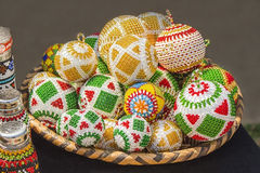 African traditional colorful handmade bead toys balls. Christmas decorations. Stock Image