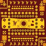 African traditional design pattern. With geometric shapes and silhouettes Royalty Free Stock Images