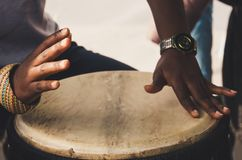 African traditional drummer. royalty free stock photography