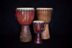 African traditional drums on black. royalty free stock photos