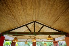 African traditional ethnic house vegetal ceiling. In Senegal stock image