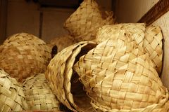 African traditional handcraft round baskets Stock Photos