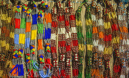 African traditional handmade beads necklace. South Africa.  Local market. Royalty Free Stock Images