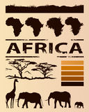 African travel design template. Set of animal, tree and continent silhouettes Royalty Free Stock Photo