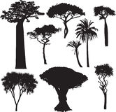 African tree silhouettes. Set of silhouettes of African trees Stock Photo