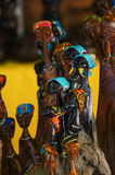 African tribal art for sale at a market stall. This artwork is generic and widely available across markets in South Africa Stock Image