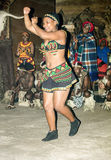 African tribal dance in traditional handmade costumes. Royalty Free Stock Image