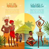 African Tribal Life Vertical Flat Banners. African tribal traditions customs rituals and family life 2 flat vertical banners set  vector illustration Royalty Free Stock Photo