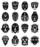 African tribal masks icons set Royalty Free Stock Photo