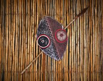 African tribal warrior shield and spear. A photograph of a beautiful hand crafted shield and spear from an Africa warriors tribe.  Taken with background of Royalty Free Stock Photo