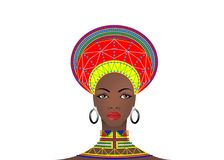 African Tribe Clothes Female Zulu, portrait of cute south african woman. Typical clothing for married women, young girl of Bantu. Nation. Afro Headdress with Royalty Free Stock Photography