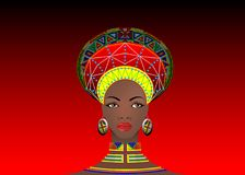 African Tribe Clothes Female Zulu, portrait of cute south african woman. Typical clothing for married women, young girl of Bantu. Nation. Afro Headdress with Stock Photography