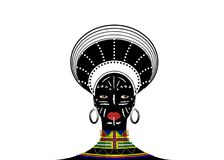 African Tribe Clothes Female Zulu, portrait of cute south african woman. Typical clothing for married women, young girl of Bantu. Nation. Afro Headdress with vector illustration