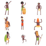 African Tribe Members Dancing And Doing Religious Rituals In Leaf Loincloths Set Of Smiling Cartoon Characters. Indigenous Happy People From Black Africa In Royalty Free Stock Photography