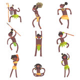 African Tribe Members, Warriors And Civilians In Leaf Loincloths Set Of Smiling Cartoon Characters. Indigenous Happy People From Black Africa In Tribal Clothes Stock Images