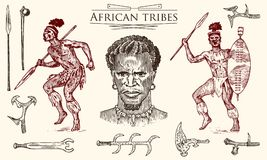 African tribes, portraits of Aborigines in traditional costumes. Australian Warlike black native man with spears and. Weapons. Engraved hand drawn old royalty free illustration