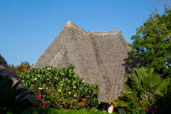 Africa tropical resort. African tropical resort traditional houses. Small bungalow house on beauteful luxury sea beach resort Royalty Free Stock Photo