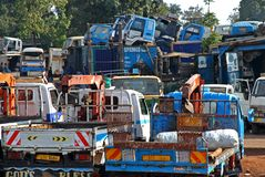 African Truck Yard. An African truck yard with trucks for sale stacked up wherever there was room stock photography