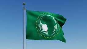African Union flag against blue sky Royalty Free Stock Photography