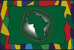 African Union Flag On Stained Glass Window. An African Union stained glass window flag design Stock Photos