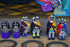 African unique rag dolls in traditional handmade clothes for sell. stock photography