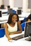 African university computer room. African american university student in computer room Royalty Free Stock Photo
