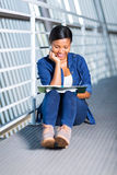 African university student studying. Beautiful female african university student studying Royalty Free Stock Photography