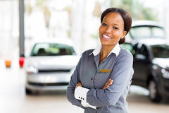 African vehicle saleswoman Stock Photos